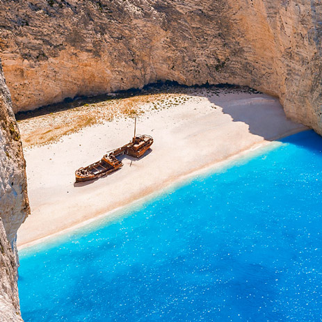 Shipwreck and Blue Caves boat trip Zakynthos Zate